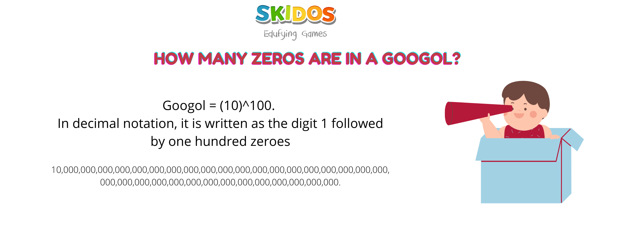 How much is a googol? How many zeros are in a googol