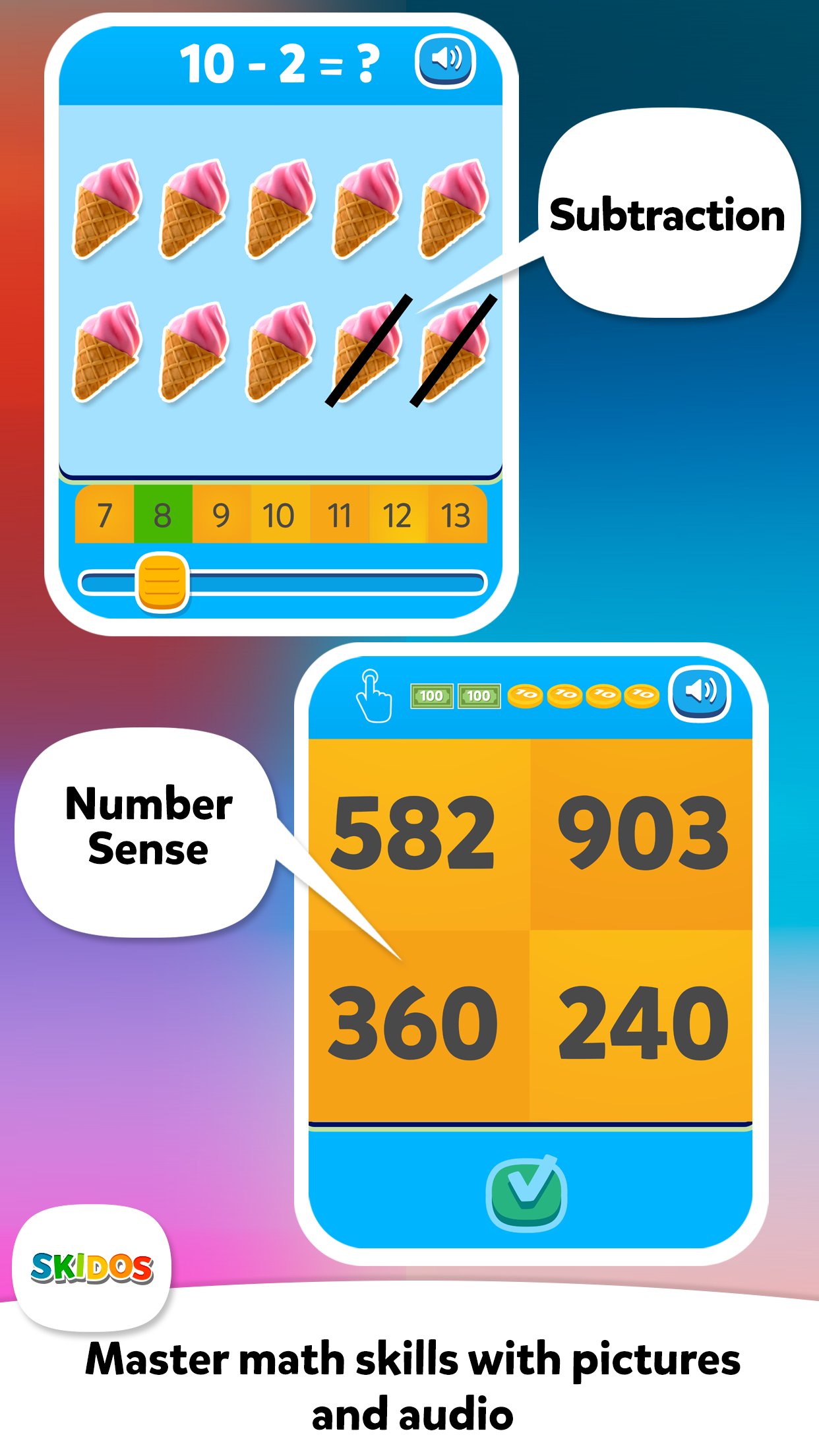 SKIDOS Number Sense and Subtraction Math Content