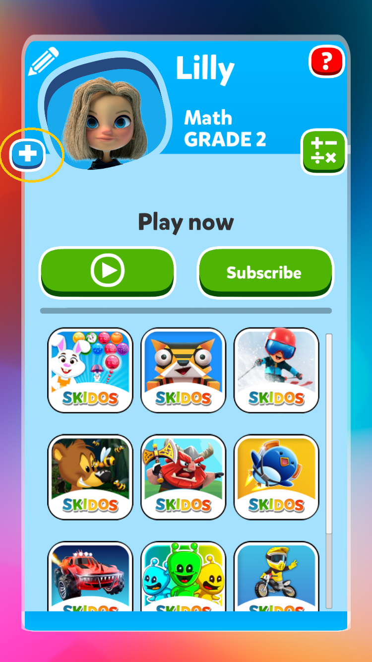 SKIDOS Add Player Button
