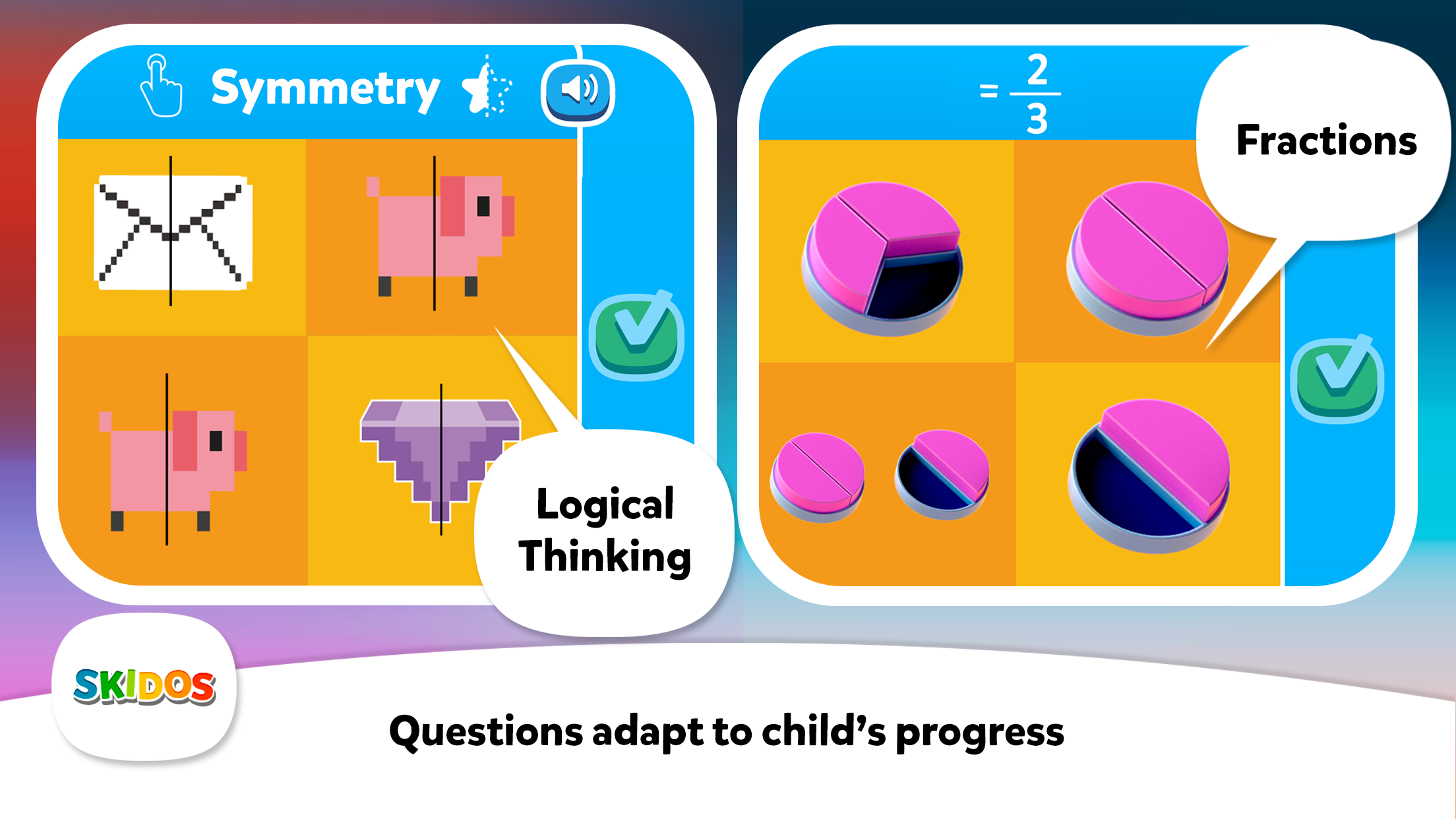 SKIDOS Symmetry and Fractions Math Questions